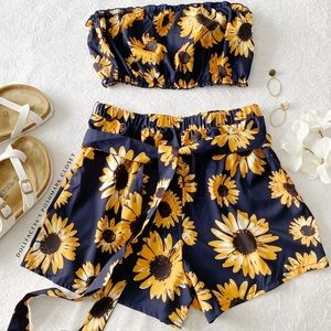 NWOT Sunflower Shorts and Tube Top Set